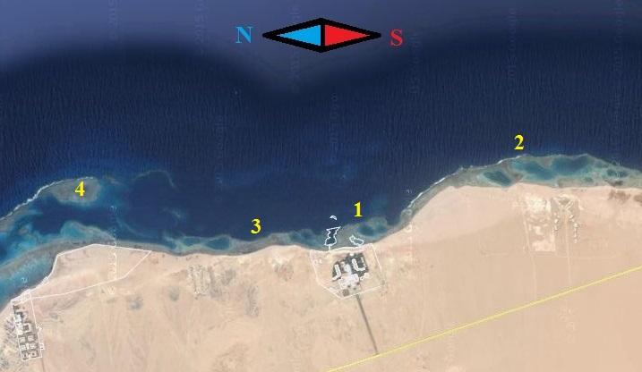 схема рифов в окрестностях отеля Fantazia